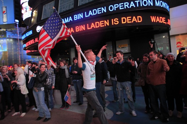 People react to the death of Osama bin Laden in Times Square in New York